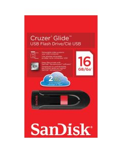 SanDisk Cluzer Glide USB Flash Drive - 16 GB - USB 2.0 - Black, Red - 128-bit AES